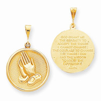 10k Yellow Gold Praying Hands Serenity Pendant