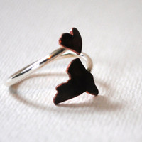 New York Heart Love Twist State Ring (Sterling Silver & Copper I <3 NY Ring)