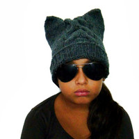 Cat Ear Hat Handknit Slouchy Hat Animal Beanie