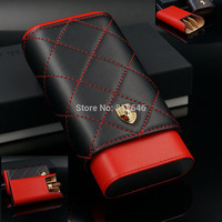 Portable Cedar Wood Lined Cigars Case 3 Tube Stitching Leather Cigar Case Cigarette Holder Travel Humidor Box