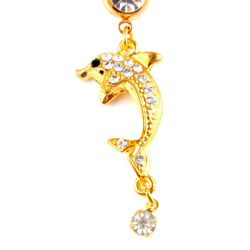 New Charming Dangle Crystal Navel Belly Ring Bling Barbell Button Ring Piercing Body Jewelry = 4804911236