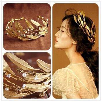 2017 Retro Baroque Wedding Crown Bride Headdress Headband Hair Accessories Golden Leaf Tiara Gold Jewelry Vintage Crowns Tiaras