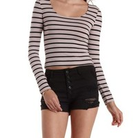 Taupe Combo Striped Zip Back Crop Top by Charlotte Russe