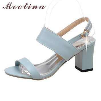 Meotina Shoes Women Sandals Summer Open Toe Ankle Strap Party Thick High Heels Sequine