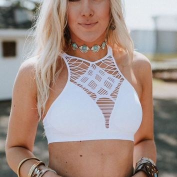 Over The Edge High Neck Bralette - White