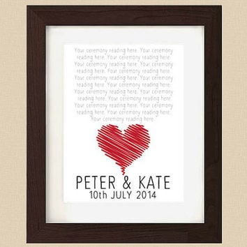 Personalised Wedding Word Art Print - Your Wedding Reading - Personalized Bespoke Word Art Print -  Unique Wedding Gift/Keepsake