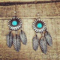Turquoise Feather Dangle Earring