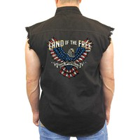 Men's Sleeveless Denim Vest Land Of The Free Biker Shirt