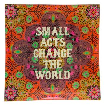 Natural Life 'Small Acts Change The World' Glass Tray - Orange