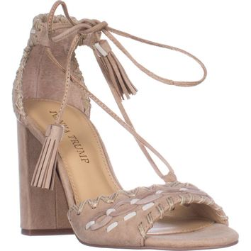 Ivanka Trump Karita Block Heel Lace Up Sandals, Light Natural , 6.5 US