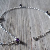 Amethyst 925 Sterling Silver Anklet Amethyst 5mm Beads 925 Sterling Silver Chain,wire,heart Shaped Chain,split,spring Rings 24-26cm Long Handmade,brand New
