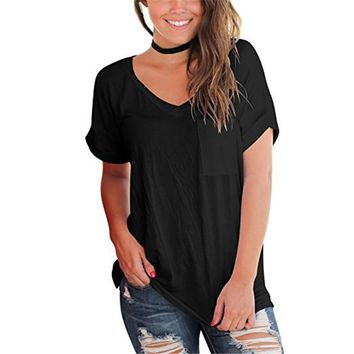 Women'S Pocket V-Neck Short-Sleeved T-Shirt