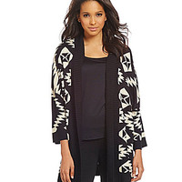 Calessa Tribal-Print Open-Front Cardigan - Sand/Black