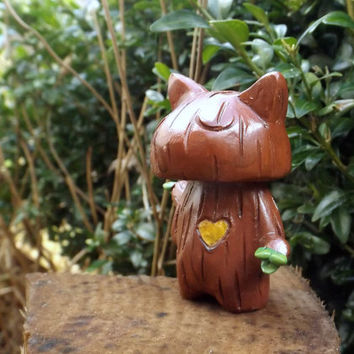 Valentines Day Gift Carved Heart Tree Cat Unique Handmade figure (B)