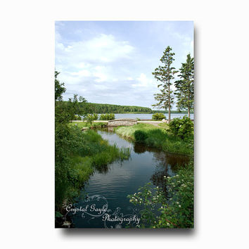 Wishing Well National Park Nature Photography Brook bridge stream blue green Manitoba coaster greeting card calendar