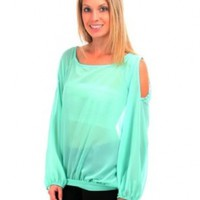 G2 Fashion Square Women's Plus Size Chiffon Cut Out Long Sleeve Tunic Top