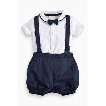 Fashion Little gentleman Newborn Baby Boy Bow Tie+T-shirt+Bib Pants Set Clothes 12-36M Cotton