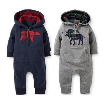 Toddler Newborn Baby Boys Cotton Long Sleeve Spring Winter Clothes Hooded Warm Suit Coverall Outwear Outfits 3 6 12 Monthes
