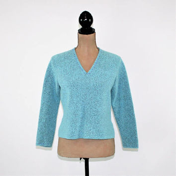 Turquoise Sweater Women Medium Petite Blue Pullover V Neck Grunge Sweater Wool Blend Boucle Sigrid Olsen Vintage Clothing Womens Clothing