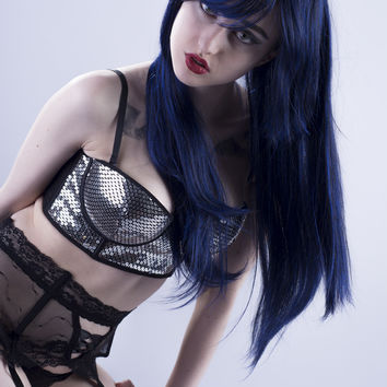 Electric - Black / Dark Blue Long Straight Wig
