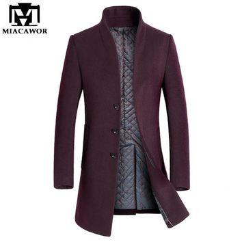 Miacawor New Winter Warm Wool & Blends Men Long Trench Coat Men Overcoat Brand Clothing Jacket Mens Cashmere Coat MJ379
