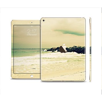 The Vintage Subtle Yellow Beach Scene Skin Set for the Apple iPad Pro