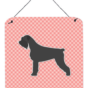 Giant Schnauzer Checkerboard Pink Wall or Door Hanging Prints BB3673DS66