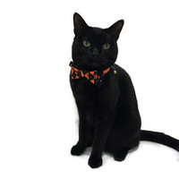 Halloween Double Bow Tie Cat Collar Black and Orange Argyle and Black and White Polka Dot cat collar