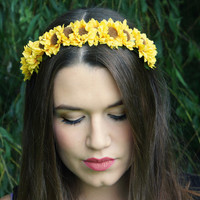Sunflower Flower Crown Headband - Yellow - Small - Weddings, Boho, Rustic, Flower Garland, Halo, Festival wear, Bridesmaid, Flower Girl.