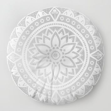 Silver & White Patterned Flower Mandala Floor Pillow by inspiredimages