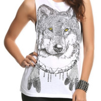 Wolf Dreamcatcher Sleeveless Girls T-Shirt