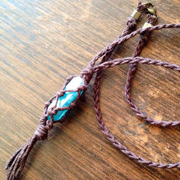 Wrapped Aqua Aura Quartz Aqua Crystal Necklace Crystal Aura Crystal Raw Crystal Heal Crystal and Stones Hemp Aqua Crystal Hemp Cord Wrap