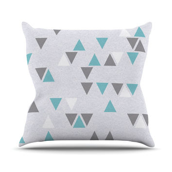 "Nick Atkinson ""Triangle Love II"" Gray Teal Outdoor Throw Pillow"