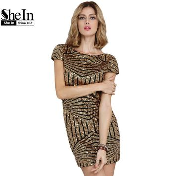 SheIn Round Neck Sequined Bodycon Dress Women Party Night Club Wear Sexy Short Gold Cap Sleeve Backless Mini Dress