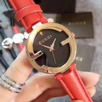 GUCCI Fashion Simple Leather Strap Wristwatch Watch