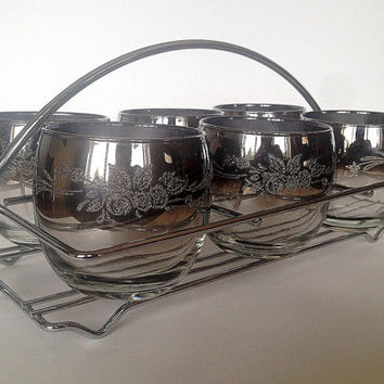 Mid-Century Roly Poly Glasses in Chrome Caddy, Embossed, S/6