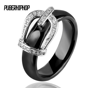 Big Size 11 12 Princess Crown Ceramic Rings For Women AAA Cubic Zirconia Micro Pave Setting Engagement Rings Female Jewelry