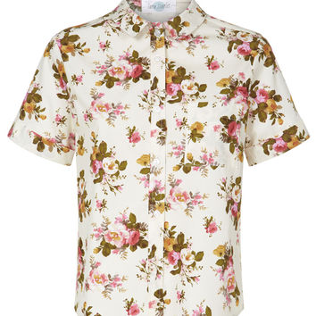 The Floral Audrey Shirt - Cream and Pink