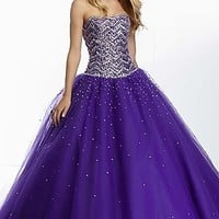 Long Beaded Strapless Ball Gown