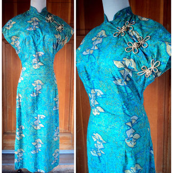 Vintage 50s Dress Fuller Fabric Modern Master Original Study In Color By Klee Print Cheongsam S. 34 - 36 Bust
