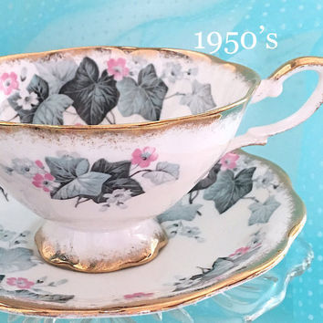 Vintage Tea Cup and Saucer, Royal Standard Ivy Footed Teacup, Tea Cup Set, Vintage China, Tea Party, Bridal Shower Gift