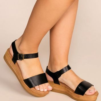 Take A Breather Black Platform Sandals