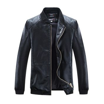 Man Zipper Leather Jackets Pu Leather Jaqueta Masculinas Inverno Couro Jacket Men Black Motorcycle Leather Jacket