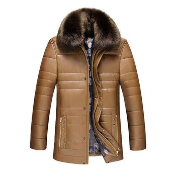 Thick Warm PU Fabric Men Jacket Winter Big Fur Collar