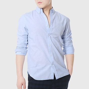 Men Fitted Shirts Social Men Casual White Shirts Chambray Cowboy Plain Linen Shirts Clothing High Quality