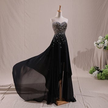 sweetheart chiffon long short prom dress , evening dress , ball gown , sleeveless formal dress , custom plus size black 2014 custom made