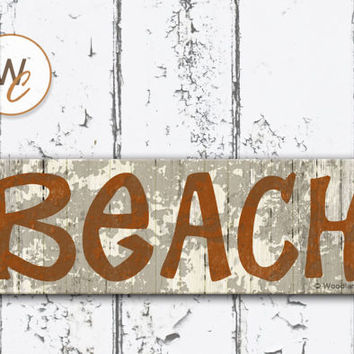 "Beach Sign, 5.5""x17"" Wood Sign, Rustic Nautical Home Decor, Distressed Burnt Orange Beach Decor, Beach Bathroom Sign, Made To Order"