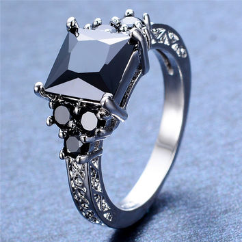 Black Square Zircon Stone Ring White Gold Filled Vintage Wedding Engagement Rings For Men And Women Crystal Fashion Jewelry