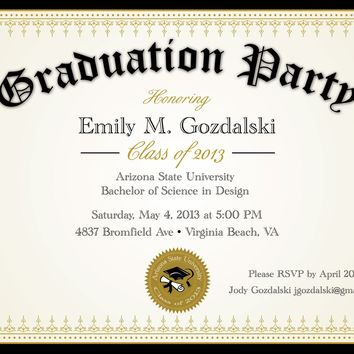 Diploma Graduation Announcements