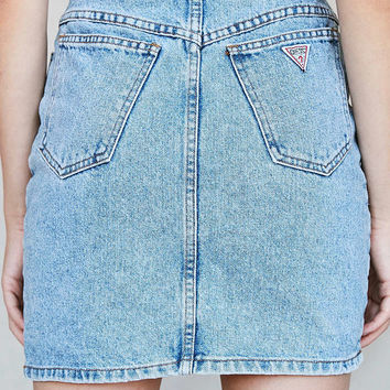 Vintage GUESS Medium Wash Denim High-Rise Skirt - Urban Outfitters